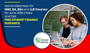 Get enrolled now for HND, BA, BSc and LLB Courses for June 2018 intake and get free student finance guidance.
