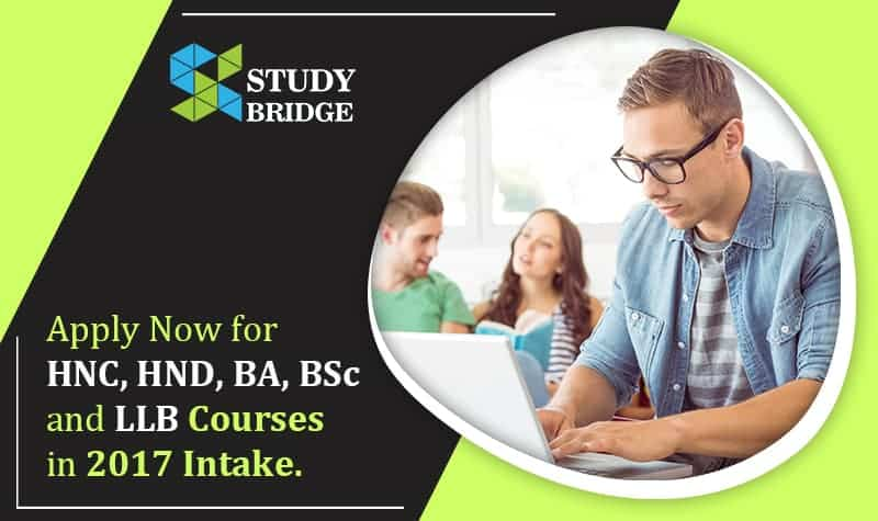 Apply Now for HNC, HND, BA, BSc LLB Courses in 2017 intake
